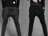 外贸男装新款韩版男裤时尚撞色腰抽绳松紧腰运动休闲裤男 X62