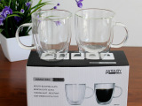 高硼硅耐热双层玻璃杯礼品彩盒双层带把蛋形咖啡杯饮料杯啤酒杯