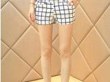 韩版潮修身弹力显瘦休闲裤哈伦裤子糖果色小脚铅笔短裤 黑白格子