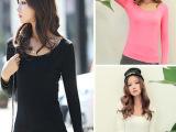 2015厂家直销 春秋韩版时尚女士莫代尔打底衫 修身百搭长袖t恤