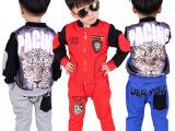 厂家直销男童套装批发2015秋款裤套装小童装韩版莫代尔长袖两件套