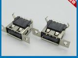AF母座90度弯脚耐高温胶LCP带螺丝孔铜壳USB连接器 深圳厂