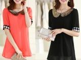 2014夏季新款 大码女装 韩版宽松金领亮片中袖雪纺连衣裙
