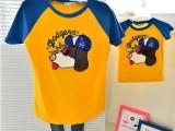 一件代发2015春季新品到货质量超好植绒狗纯棉短袖T恤亲子装童装