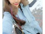 2014秋冬新款韩版 修身裙摆式毛领泡泡袖立领毛呢外套 女装