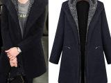 欧美2014冬装新款女装中长款外套连帽胖MM大码拉链口袋毛呢子大