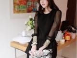 女装代发 批发 春装新款 名媛奢华亮片雪纺袖长袖飘逸连衣裙