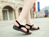 2014夏季新款真皮拼色套脚磨砂真皮妈妈鞋凉鞋平底坡跟露趾女鞋