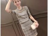 韩国代购2014秋冬新款卓雅钉珠针织上衣+包臀短裙两件套女装76