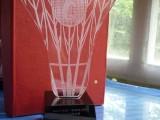 高檔羽毛球比賽水晶獎杯定制創意金屬刻字制作體育比賽頒獎