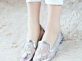 2015春夏潮款透气网纱水钻女凉鞋舒适低跟包头尖头韩版女鞋新批发