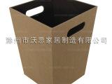 居家桌面办公用品收纳桶储物桶垃圾桶皮质欧式编制杂物桶外贸原单