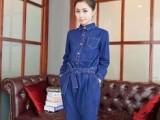 名品韩版新款长袖深蓝色连身裤牛仔连体裤工装收腰长裤女