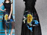 欧洲站2015夏季新款女装时尚修身蕾丝印花绣花长款无袖连衣长裙潮