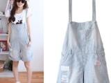 2014夏季新款 女装牛仔 背带裤 韩版 女式休闲吊带裤 五分裤