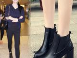 厂家直销欧美明星款女靴子2014秋冬款粗跟短靴马丁靴高跟短靴