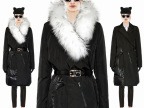 【特价】2014 新款出口法国女装貉子毛领修身长款羽绒服 13210