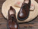 潘?2013秋款 复古手工单鞋欧美 森女鞋子真皮 坡跟外贸大码女