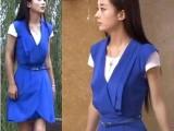 2014夏季新款 妻子的秘密江百合赵丽颖同款V领气质两件套连衣裙