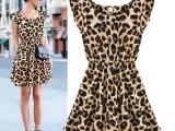 2014新款女装 无袖圆领豹纹连衣裙女 欧美风中腰外贸夏性感裙子