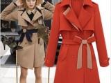欧美女装2013秋冬新款欧美站中长款西装翻领系腰带时尚风衣外套1