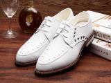 2015春季新款男皮鞋子白色男鞋厂家批发尖头系带男单鞋