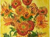 世界名画临摹梵高向日葵 纯手绘油画厚油油