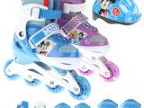 正品迪士尼儿童旱冰鞋套装男女童闪光轮溜冰鞋运动轮滑鞋长度可调
