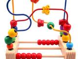 木制大号台式串珠花鸟绕珠儿童算珠穿线玩具 宝宝益智玩具1-2-3