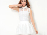 2014夏装新款背心蕾丝上衣+蓬蓬欧根纱短裙三件套裙套装