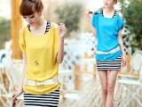 2014夏装新款韩版漏肩短袖雪纺连衣裙两件套显瘦包臀套装裙子
