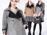 2014秋冬时尚女装 新款潮风衣 麂皮绒七分袖外套 女装批发