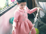 外贸品牌女童装 镶钻钉珠加厚太空棉长袖连衣裙 韩国童装一件代发