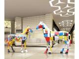 户外玻璃钢雕塑马园林景观公园彩绘动物摆设大型商场美陈装饰摆件