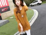 秋冬装韩版女式针织衫 中长款修身显瘦毛衣针织衫女 针织衫套头