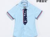 新品童装夏款 童衬衫 韩版男童衬衫外套 8519领带短袖衬衫Z0