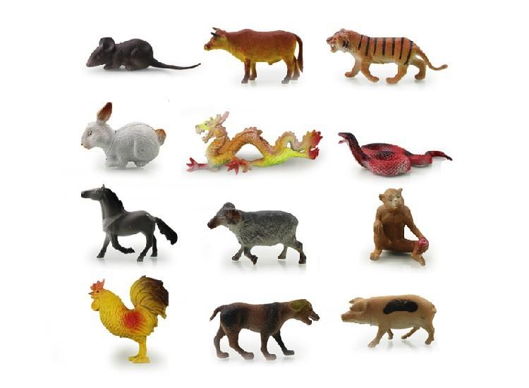 塑胶软体十二生肖动物模型玩具 12生肖模型鼠牛虎兔龙蛇马相关图片