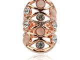 欧美款 玫瑰金镂空镶钻合金戒指 环保色外贸鸟巢戒指 饰品批发