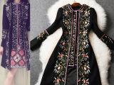 秋冬季女装新款欧美走秀重工刺绣羊毛呢子大衣外套女款112806