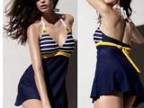 泳衣批发海军保守遮肚显瘦连体裙式泳装泳衣女 泡温泉
