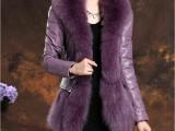 2014新款仿狐狸毛领修身外套 PU皮羽绒服女中长款批发