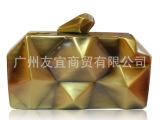 10924不规则铁盒晚宴包evening bag出口欧美原单合金