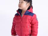 2015冬季新品儿童运动连帽棉夹克童棉衣 男童女童拼色保暖棉服