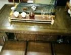 鸡翅木茶桌椅+青石茶盘