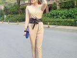 大牌专柜同款V领修身连体裤 韩版女装 一件代发