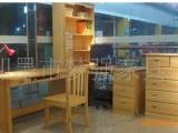 供应青岛实木松木家具/松木多功能电脑桌/书柜连桌/学习桌
