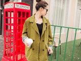 韩国东大门秋款女装 BF风后背字母袖子英文外套 中长款宽松风衣女