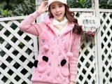 实拍冬季新款韩版少女学生毛绒外套仿兔毛皮草中长款连帽爆款潮