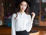 欧佩妮2015夏装新款女装 韩版波点长袖修身百搭雪纺衬衫女式衬衣
