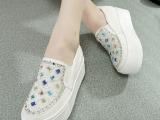 一件代发新款韩版单鞋女厚底松糕鞋一脚蹬学生套脚懒人水钻帆布鞋